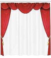 クラシックシアターステージレトロデコレーションバスルームシャワーカーテン、ポリエステル防水性と速乾性 パターン、12フック、183x198cm、家の装飾