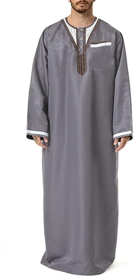 XINDSJDS Mens Fashion Robes Long Sleeve Round Neck Muslim Kaftan Robes7