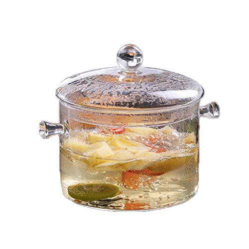 HELYZQ Panela de vidro de alta temperatura borossilicato, panela de cozinha, segura e não tóxica