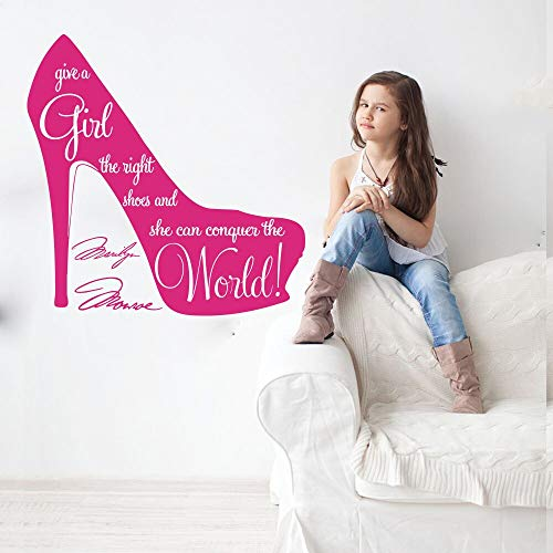 Give Zapatos de niña Marilyn Monroe Cita Tacones altos Mujer Stiletto Tienda Vinilo Etiqueta de la pared Calcomanía Dormitorio Sala de estar Tienda Estudio Decoración para el hogar Mural