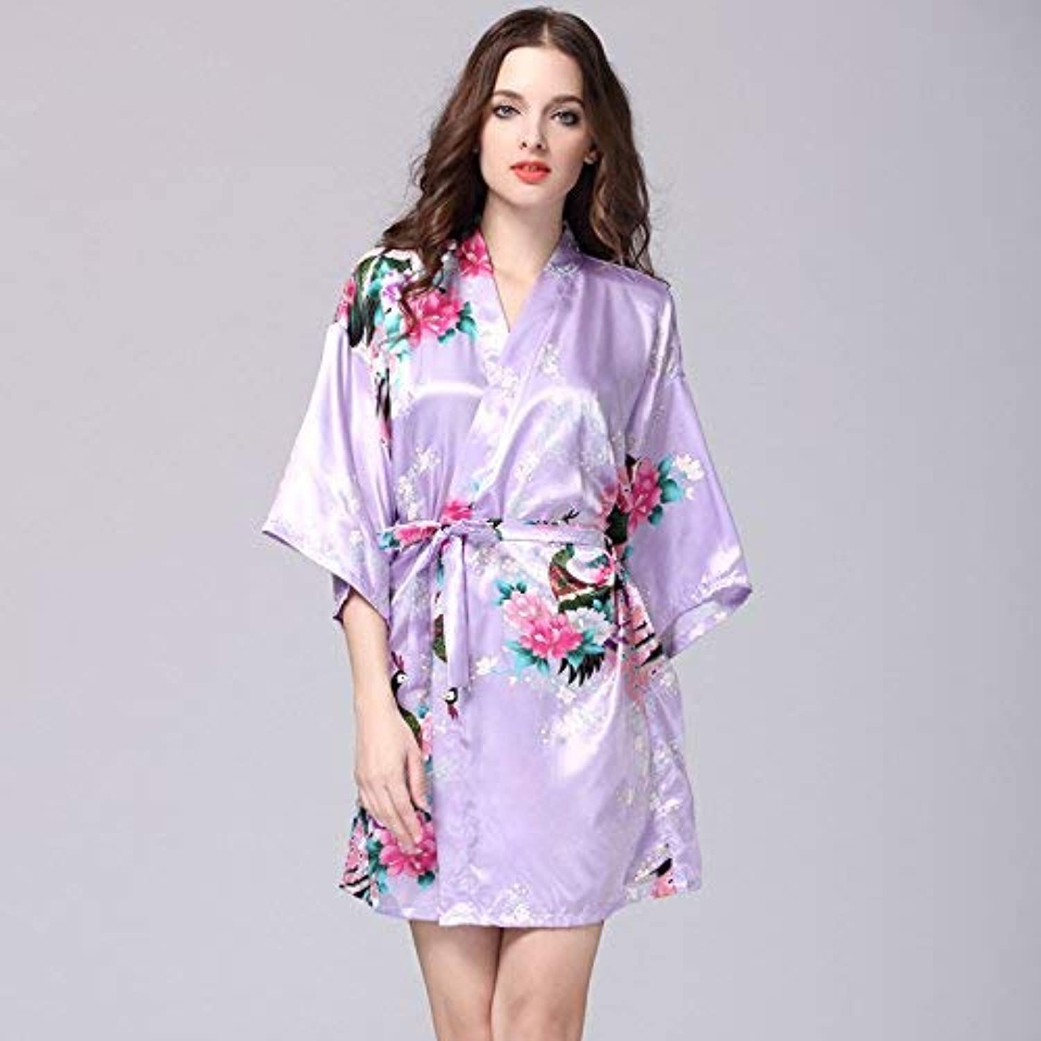 DALAI Simulation Silk Nightgown Ladies Summer Sleeve Peacock Pajamas Bathrobe Large Size Home Service (color   Light Purple, Size   L) (color   Light Purple, Size   Large)
