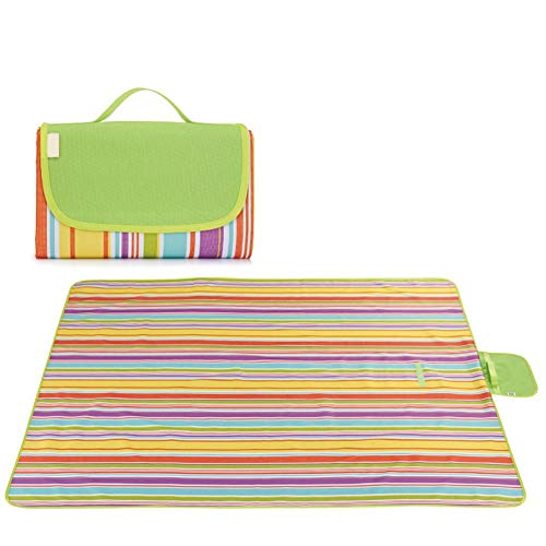 Lavable Estera de Picnic Plegable Impermeable Alfombra Almohadilla de Terciopelo para Camping al Aire Libre Parque Patio (200 * 200cm) (Color : Purple Strip, Size : 180cm)