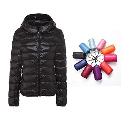 RIOJOY verstaubare Daunenjacke für Damen, mit Kapuze, ultraleicht, kurze Winterjacke mit Handtasche Gr. Large, #1 Schwarz