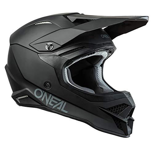 O'NEAL   Casco de Moto   Motocicleta, Enduro   Estándares de Seguridad ECE 22.05, Carcasa de ABS, ventilación y refrigeración óptima   Casco 3SRS Solid   Adultos   Negro   Talla M