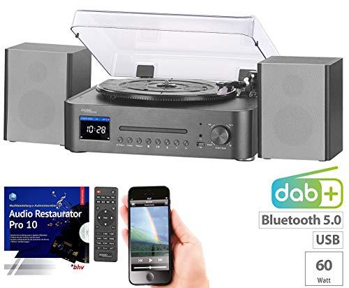 auvisio Kompaktanlagen: Digitale HiFi-Anlage & Digitalisierer, Internet- & DAB+Radio, Software (Radio mit Plattenspieler)