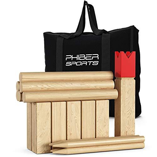 PHIBER-SPORTS Kubb Wikinger Schach aus Holz in Premium Qualität – Aus massivem Hartholz – Mit praktischer Tragetasche - Spiel für draußen - Holzspiel für Kinder und Erwachsene jeden Alters