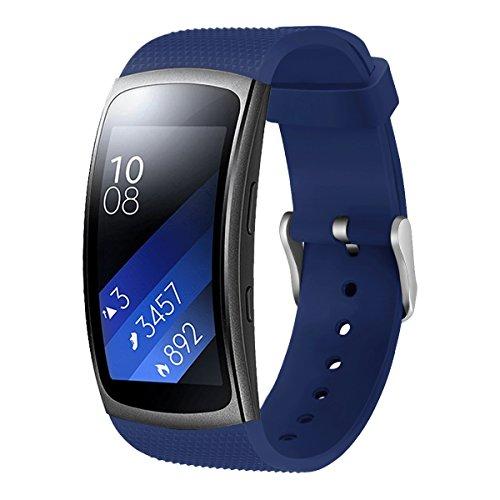 Aimtel Ersatzarmband Kompatibel mit Samsung Gear Fit 2 Armband & Samsung Gear Fit 2 Pro Uhrenarmband, Weiche Silikon Sport Ersatz Armband(Blau)