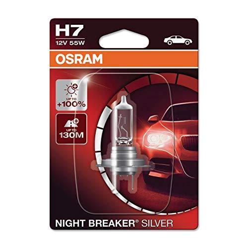 Osram Night Breaker Silver H7, +100{7d275875afe17ce5c546eca135c0d7289830241f1386592ab8dab220b5c6be2d} mehr Helligkeit, Halogen-Scheinwerferlampe, 64210NBS-01B, 12V Pkw, Einzelblister (1 Lampe)