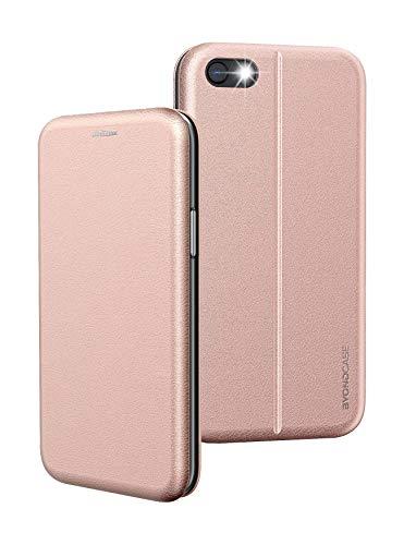 BYONDCASE Custodia iPhone 7 & 8 Rosa Cover [iPhone 7 & 8 portafoglio Pelle Sintetica] Antiurto incluso Chiusura magnetica, slot per carte di credito e funzione di supporto
