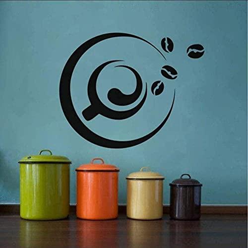 Adhesivo De Pared Impermeable Para Azulejos De Cocina Con Una Taza De Café Y Granos De Café