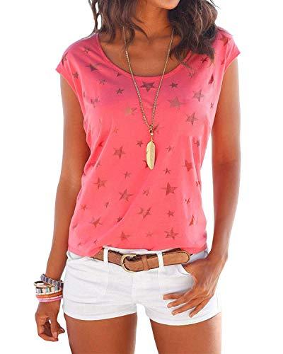 YOINS T-Shirt Damen Shirt Oberteile Sexy Oberteil für Damen Tops Sommer Einfarbig Ärmellos Rundhals mit Sterne Neu-Rot L