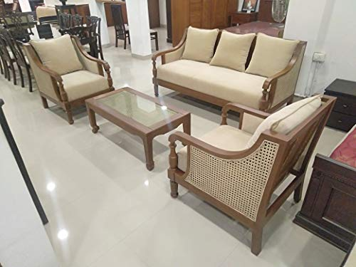 DORWIN Furniture Handmade Teakwood Sofa Set 3+1+1 Seater(NO Centre Table)