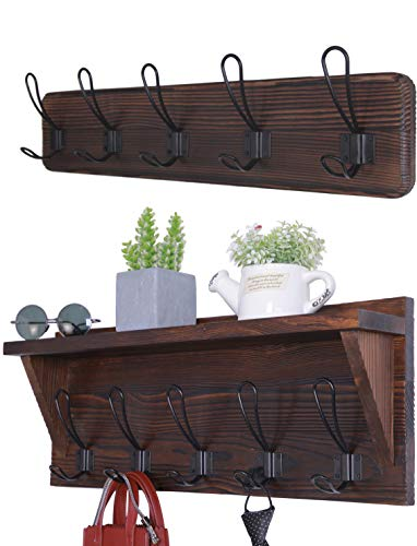 Set of 2 Entryway Coat Rack Wall Mounted with Shelf Rustic Coat Hooks Wall Mounted Wood Hanging Coat Rack Farmhouse Hooks