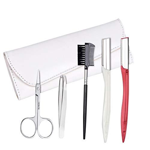 Minkissy Kit de Toilettage Des Sourcils 5 Pièces avec Trousse D'outils Professionnels pour Sourcils pour Outil de Soin Des Cheveux Du Visage