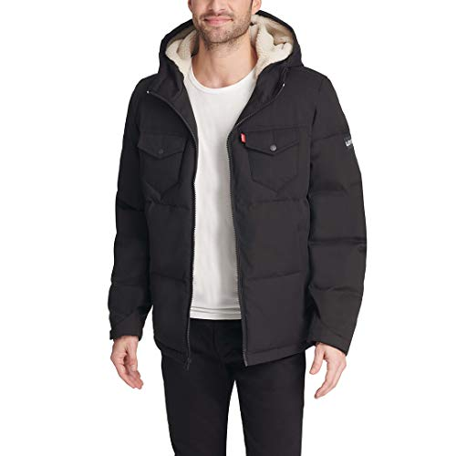 Levi's Men's Heavyweight Mid-Length Hooded Military Puffer Jacket, Black, XX-Large