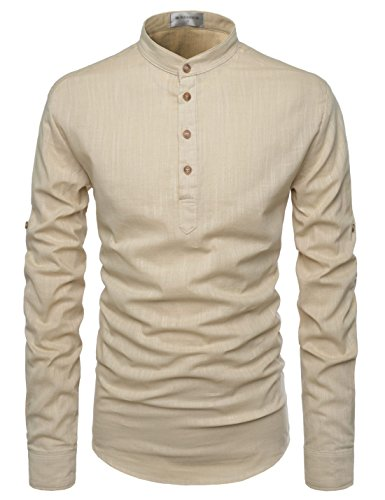 TheLees (NKN350) Transform Roll-Up Sleeve Mandarin Henley Neck Linen Shirts BEIGE US XXXL(Tag size 3XL)