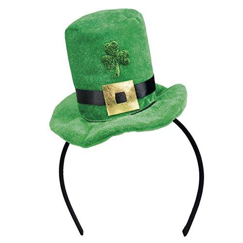 Boland 44908 - Tiara Shamrock, Haarreif, grün-schwarz, Irland, St. Patricks Day, weicher Miniaturhut, Karneval, Halloween, Fasching, Mottoparty, Kostüm, Theater, Accessoire, Verkleidung