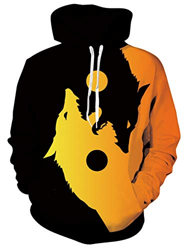 TUONROAD Herren Kapuzenpullover Couple HD 3D Printed Pullover Unisex Lange Ärmel Funny Wolf Sweatshirts for Teens Jumpers M