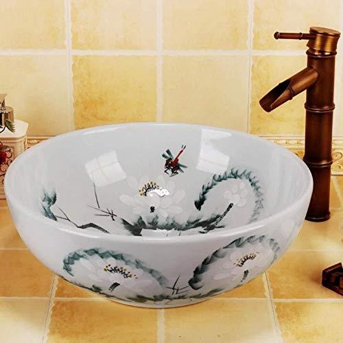 Jgophu Lavabo de baño antiguo pintado a mano, diseño de flor de loto, cerámica y porcelana