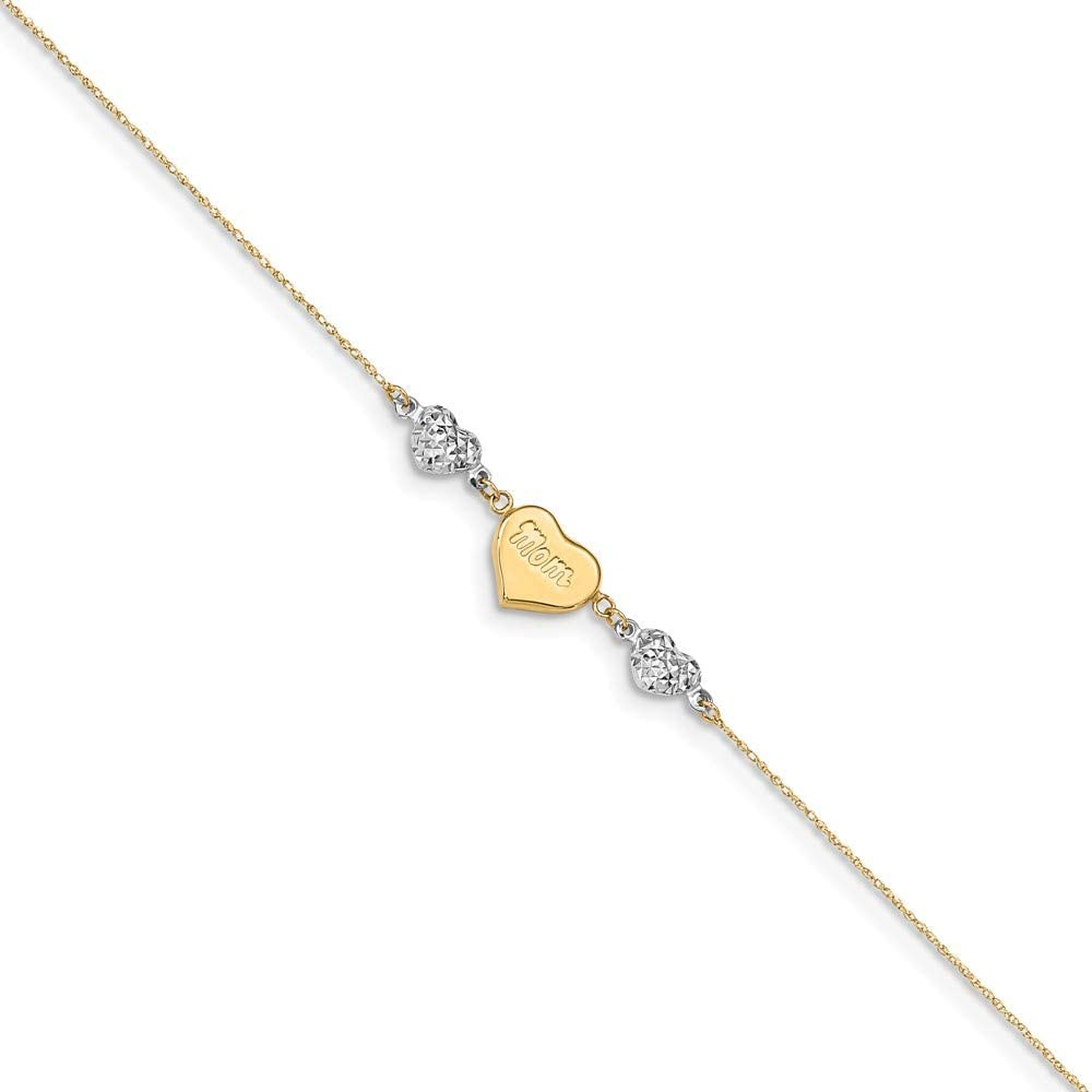 14k Yellow and White Gold Two Tone Diamond-Cut Puffed Hearts MOM 1 Ext Anklet 9