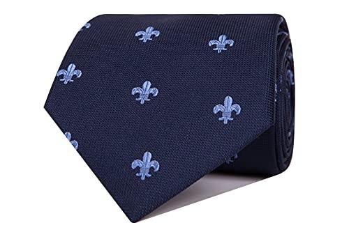 Nosologemelos - Cravate Jacquard Fleur De Lis - Céleste - Hommes - Taille Unique