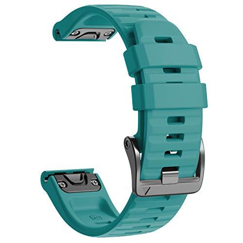 NotoCity Garmin Fenix 6X Correa, Silicona Reemplazo Correa para Garmin Fenix 6X/Fenix 6X Pro/Fenix 3/Fenix 3 HR/Fenix 5X/Fenix 5X Plus, Easy-Fit, no Adapta a Fenix 6,6s (Verde Oscuro)