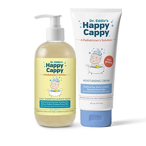 Happy Cappy Eczema Bundle   6 oz Tube of Moisturizing Cream & Daily Eczema Cleanser