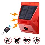 Luz estroboscópica solar con detector de movimiento, Achort luz de alarma solar con mando a distancia, 129 db de sonido, sirena de seguridad, IP65 impermeable, para casa, granja, granero, villa