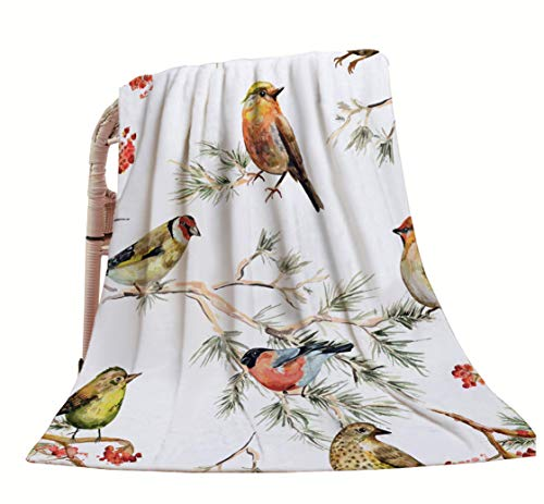 HGOD DESIGNS Bird Throw Blanket,Vintage Watercolor Forest Birds Painting Design Soft Warm Decorative Throw Blanket for Bed Chair Couch Sofa 50'X60'