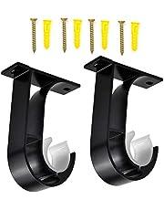 soportes para barra de cortina de 28 mm TiKiNi Soportes para barra de cortina soporte para poste de cortina con tornillos 2 piezas