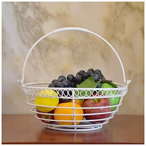 QTQHOME Corbeille Fruits Bols Fruits Grande capacité Style élégant Innovant Double Couche Fer Art Corbeille Fruits (Couleur:Blanc)