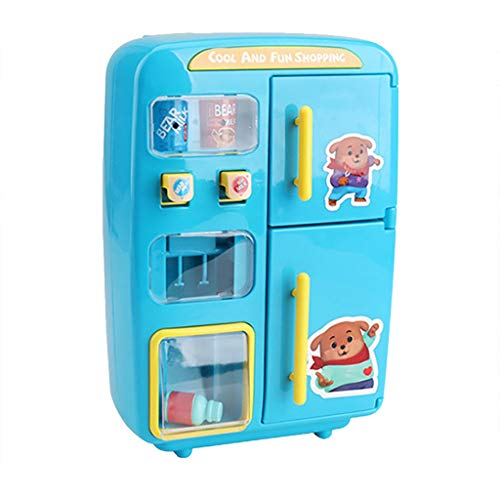 Bascar Simulation Automaten Kühlschrank Home Kinder Mikrowelle Kühlschrank Spielzeug Set, Elektrische Simulation Mini Spielzeug Kühlschrank mit Play Food Set Geschenk für Kinder (Blau)