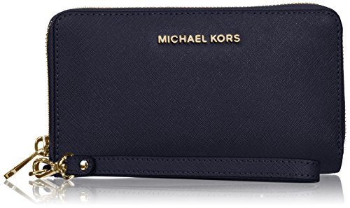 Michael Michael Kors Womens Jet Set Travel Leather Large Smartphone Wristlet Admiral