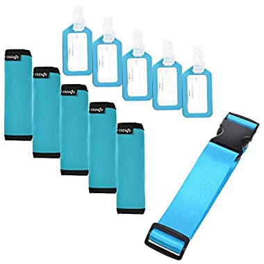 Cosmos ® 5 Pcs Aqua Blue Comfort Neoprene Handle Wraps/Grip/Identifier + Light Blue Luggage Tags + Light Blue Nylon Add a Bag Luggage Strap