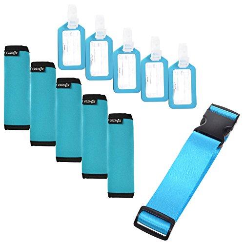 Cosmos 5 Pcs Aqua Blue Comfort Neoprene Handle Wraps/Grip/Identifier + Light Blue Luggage Tags + Light Blue Nylon Add a Bag Luggage Strap