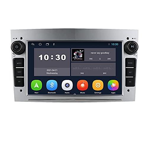 Android Autoradio Bluetooth per Opel Astra H Corsa C Zafira Corsa D Meriva Vivaro GPS Navi Bluetooth USB SD WiFi Ingresso telecamera posteriore Mirrorlink Controllo al volante DAB + DVR Argento