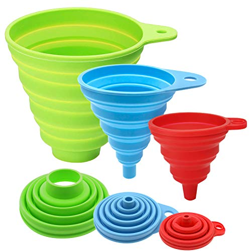 Kitchen Funnel, Funnels for Kitchen Use, Food Grade Silicone Collapsible Funnel, Funnels for Filling Bottles, Liquid, Powder Transfer (3 Pack)
