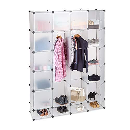 Relaxdays Étagère cubes rangement penderie armoire 18 compartiments chaussures modulable, Plastique, Transparent, 36.5 x 145 x 198 cm