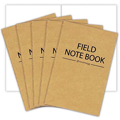 Effen wit papier Refill voor Field Notes Notebooks 5 Pack | Kwaliteit gestikt 48 pagina's per boek 3,5 x 5,5 inch…
