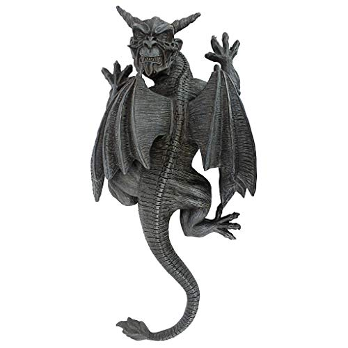 Design Toscano PD2103 Gargoyle Demon on the Loose Gothic Decor Wall Sculpture, Large, 18 Inch, Polyresin, Grey Stone