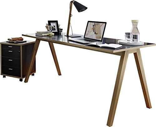 Germania 8496-161 2-tlg. Büromöbel-Set im skandinavischen Design GW-Helsinki in Anthrazit/Sonoma-Eiche-Nachbildung, 200 x 75 x 80 cm (BxHxT)