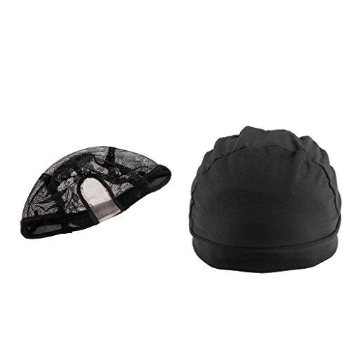 T TOOYFUL 2pcs Unisexe Nylon Extensible Maille élastique Bas Perruque Doublure Casquette Snood Noir