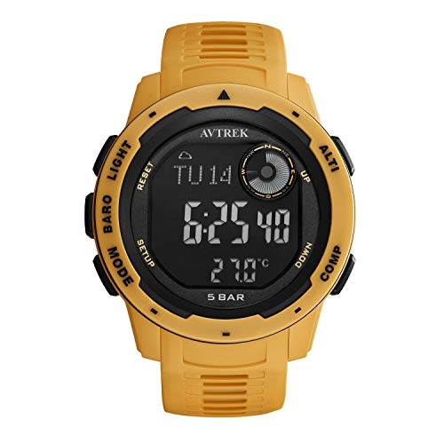 AVTREK Compass Watch, Pedometer Calorie Watch, Altimeter Barometer Thermometer Temperature, Fashion Cool Military Waterproof Outdoors Sport Digital Mountaineering Watch for Men and Women (Yellow)