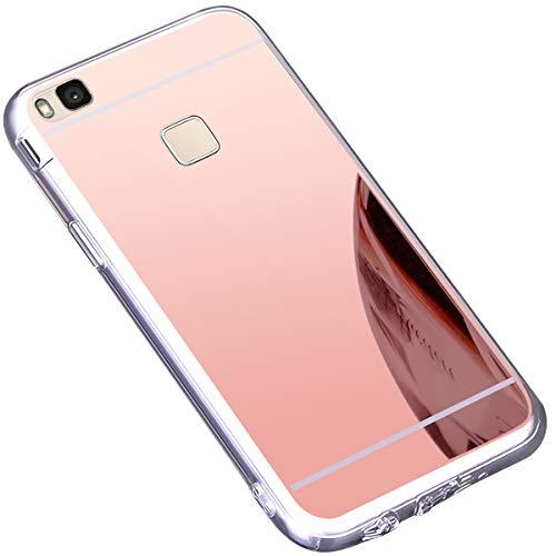 Funda Huawei P9 Lite,Carcasa Protectora [Trasera] de [Tpu] para Móvil En [Con Efecto Espejo] Ultra-Delgado Caras Cubierta Caso Espejo Funda Case Cover para Huawei P9 Lite,Oro Rosa