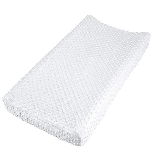 Baby Changing Pad Cover Super Soft Minky Dot Diaper Changing Table Covers for Baby Girls and Boys Ultra Comfortable Safe for Babies Fit 32quot/34#039#039 x 16quot Pad White