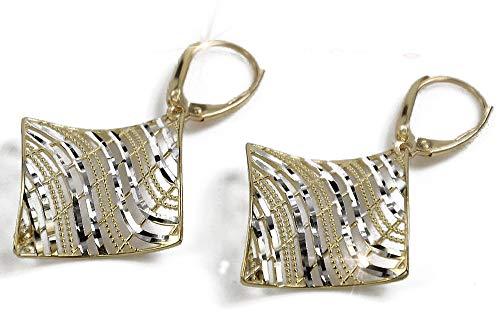 Italian yellow white gold earrings ens001-14K Yellow & White Gold