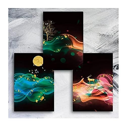 HANSHUO Pinturas de Lienzo de árbol de Paisaje Abstracto de Colores Carteles de Arte de Pared Familiar Impresiones de Pared para la decoración del hogar de la Sala de Estar (30x40cm × 3pcs) Sin Marco