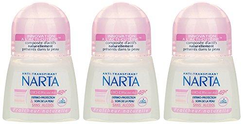 Narta - Déodorant Femme Bille Anti-Transpirant Bio-Efficacité 48h - 50 ml - Pack of 3