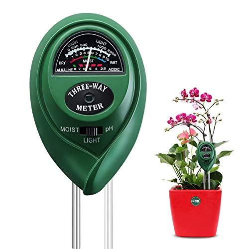 BoloShine Medidor de Suelo, Humedad del Suelo 3 en 1 Medidor de PH Medidor de luz Humedad, Probador de Suelo para Planta, Jardín, Granjas, Huerto (No Requiere Pilas)