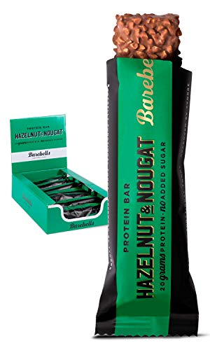 Barritas de proteínas Barebells Hazelnut Nougat 12 x 55g, rica en proteínas, baja en carbohidratos y en azúcar, 20g proteína por barrita